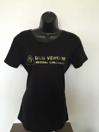 Dub Vendor Women's Reggae Specialist T-Shirt - Classic Logo - Black / Camo (Various Sizes)
